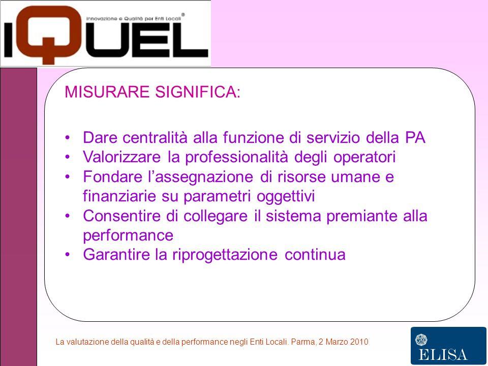 La valutazione della qualità e della performance negli Enti Locali.