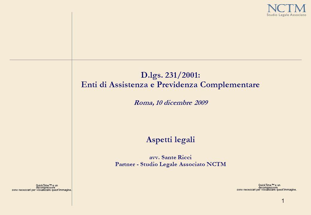 22 IPOTESI DI AREE DI RISCHIO AI FINI 231 PER LE CASSE DI ASSISTENZA D.lgs.