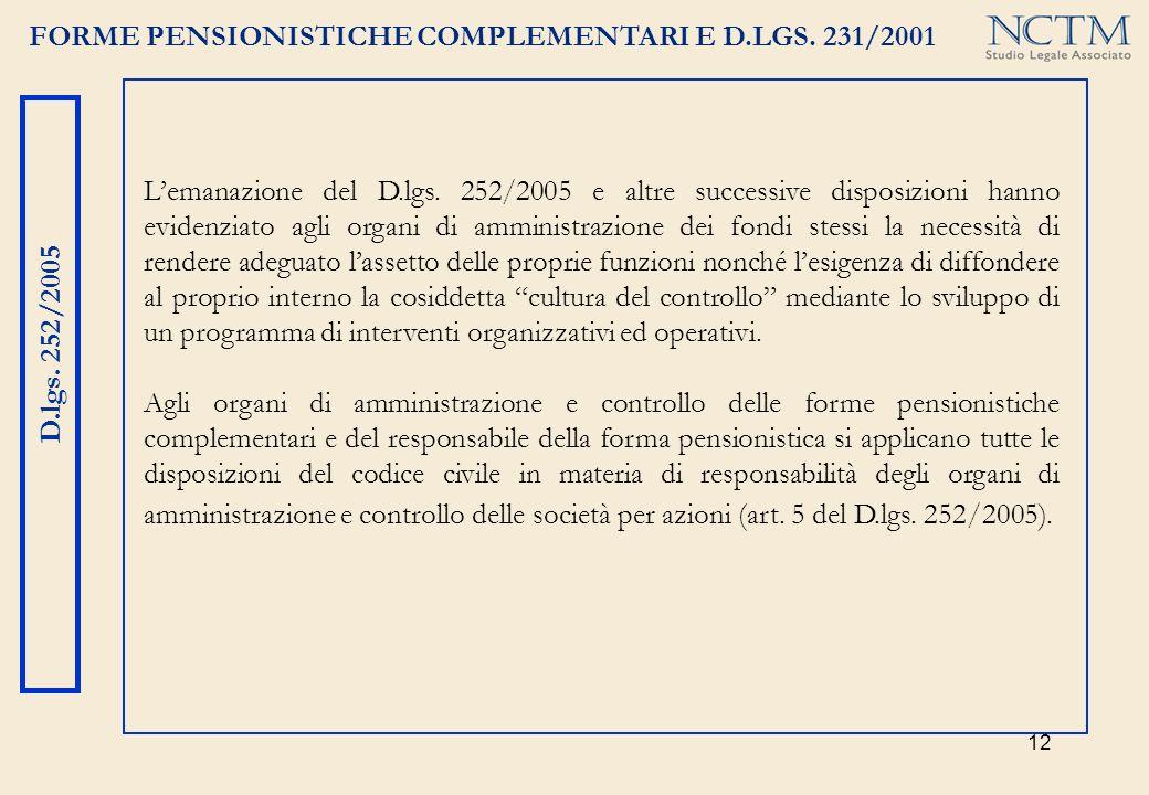 12 FORME PENSIONISTICHE COMPLEMENTARI E D.LGS. 231/2001 D.lgs. 252/2005 Lemanazione del D.lgs. 252/2005 e altre successive disposizioni hanno evidenzi