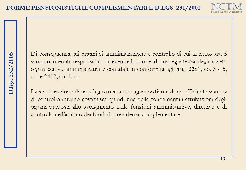 13 FORME PENSIONISTICHE COMPLEMENTARI E D.LGS. 231/2001 D.lgs. 252/2005 Di conseguenza, gli organi di amministrazione e controllo di cui al citato art