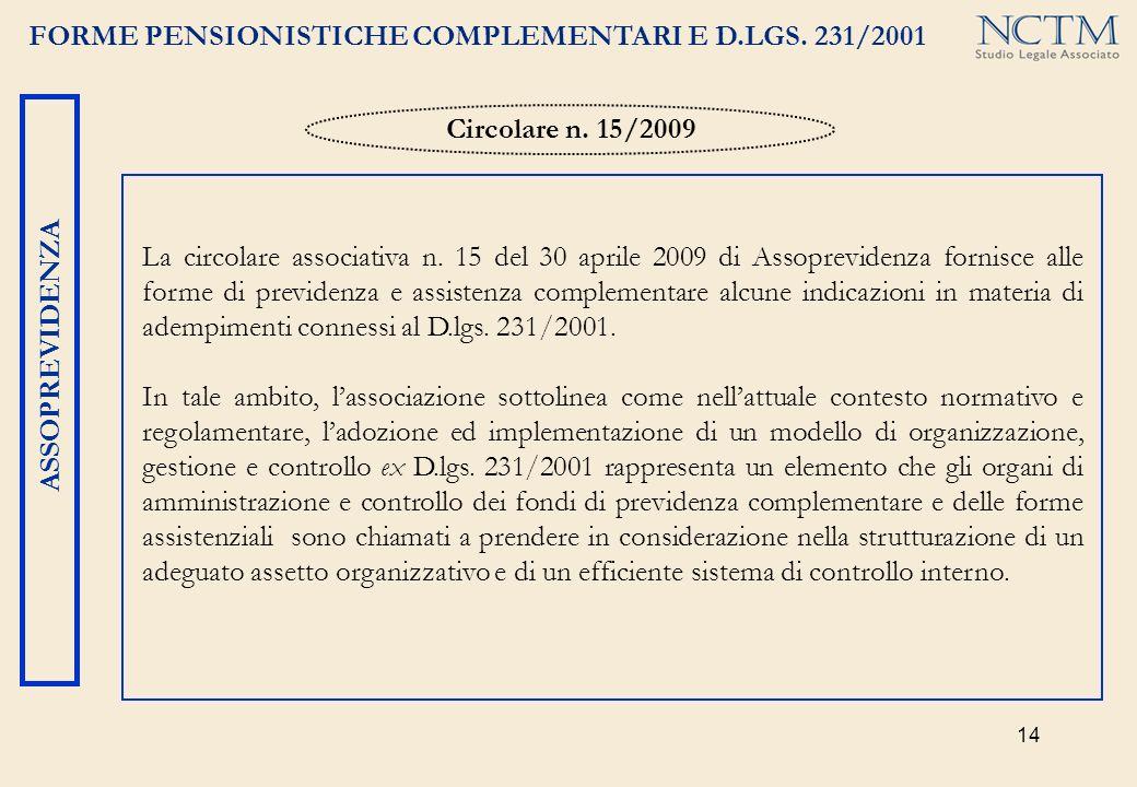 14 FORME PENSIONISTICHE COMPLEMENTARI E D.LGS. 231/2001 ASSOPREVIDENZA La circolare associativa n. 15 del 30 aprile 2009 di Assoprevidenza fornisce al