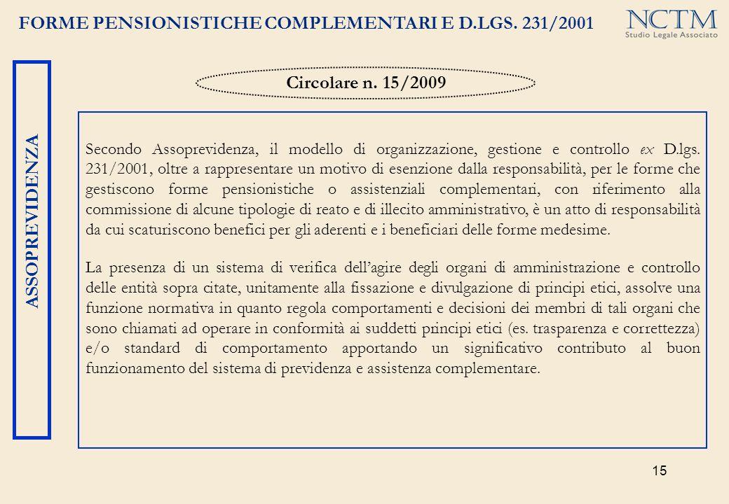 15 FORME PENSIONISTICHE COMPLEMENTARI E D.LGS. 231/2001 ASSOPREVIDENZA Secondo Assoprevidenza, il modello di organizzazione, gestione e controllo ex D
