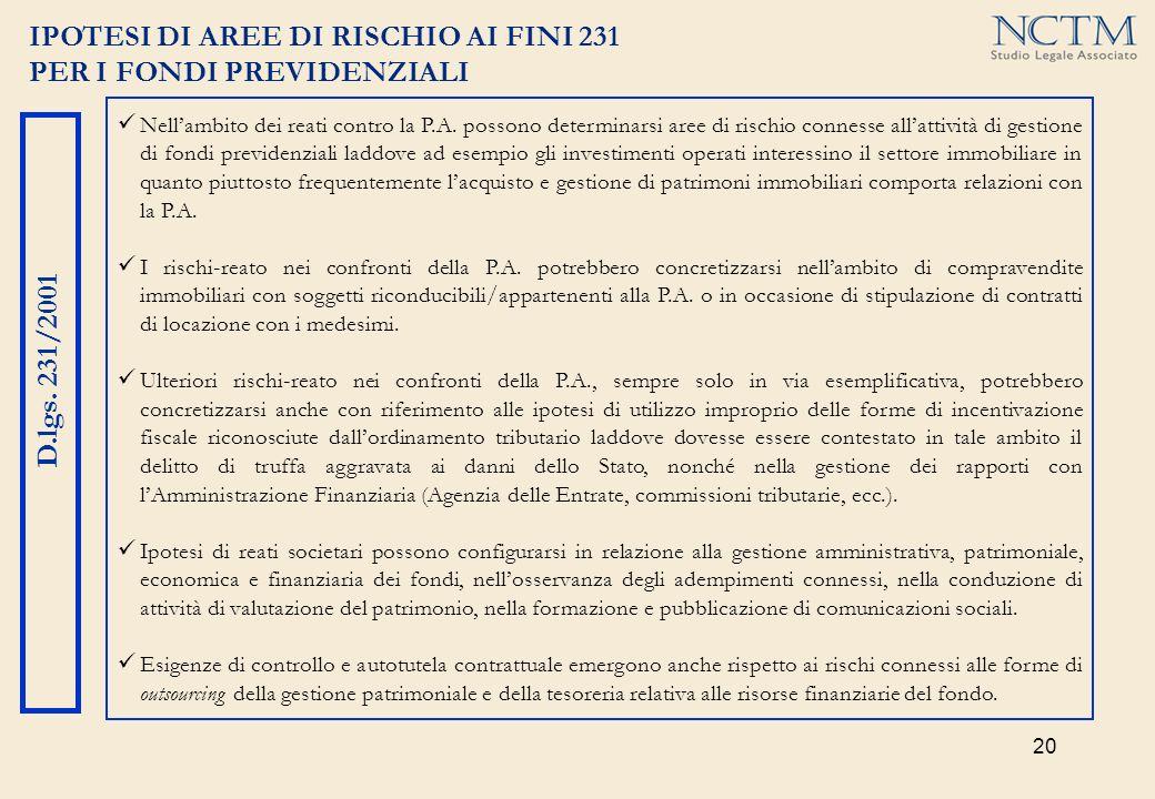 20 IPOTESI DI AREE DI RISCHIO AI FINI 231 PER I FONDI PREVIDENZIALI D.lgs. 231/2001 Nellambito dei reati contro la P.A. possono determinarsi aree di r