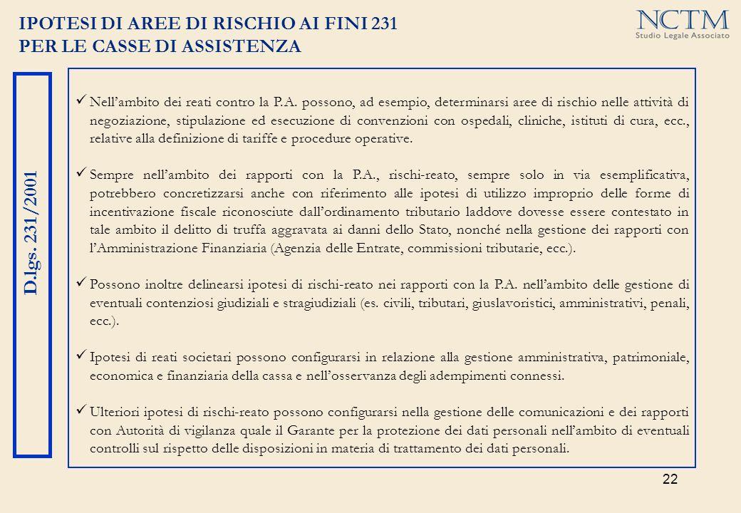 22 IPOTESI DI AREE DI RISCHIO AI FINI 231 PER LE CASSE DI ASSISTENZA D.lgs. 231/2001 Nellambito dei reati contro la P.A. possono, ad esempio, determin