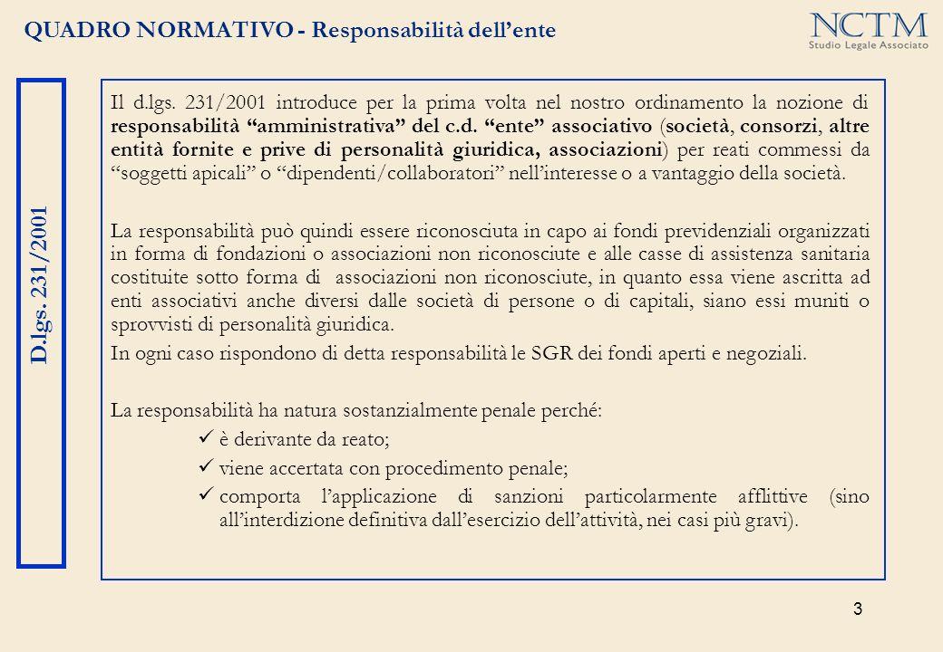3 QUADRO NORMATIVO - Responsabilità dellente D.lgs. 231/2001 Il d.lgs. 231/2001 introduce per la prima volta nel nostro ordinamento la nozione di resp