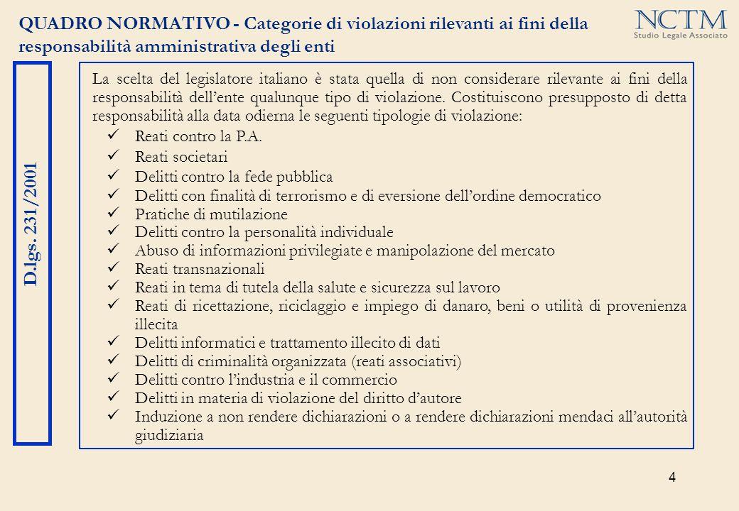 4 QUADRO NORMATIVO - Categorie di violazioni rilevanti ai fini della responsabilità amministrativa degli enti D.lgs. 231/2001 La scelta del legislator