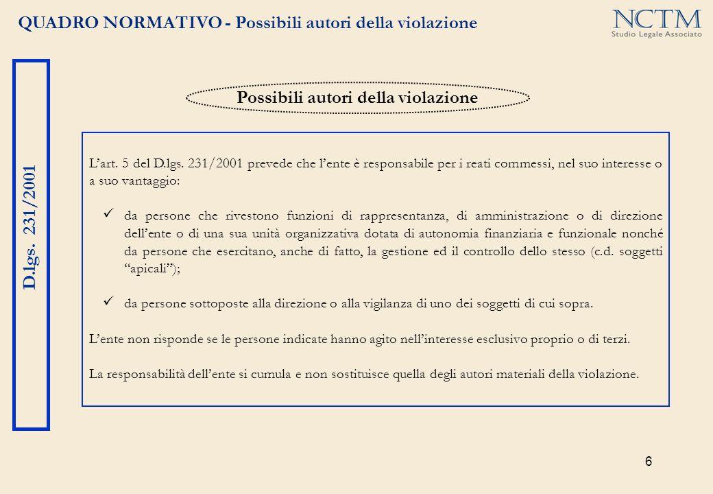 6 QUADRO NORMATIVO - Possibili autori della violazione D.lgs. 231/2001 Lart. 5 del D.lgs. 231/2001 prevede che lente è responsabile per i reati commes
