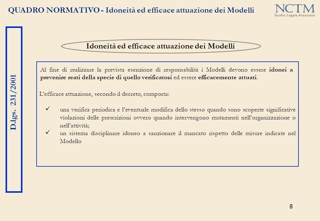 8 QUADRO NORMATIVO - Idoneità ed efficace attuazione dei Modelli D.lgs. 231/2001 Lefficace attuazione, secondo il decreto, comporta: una verifica peri