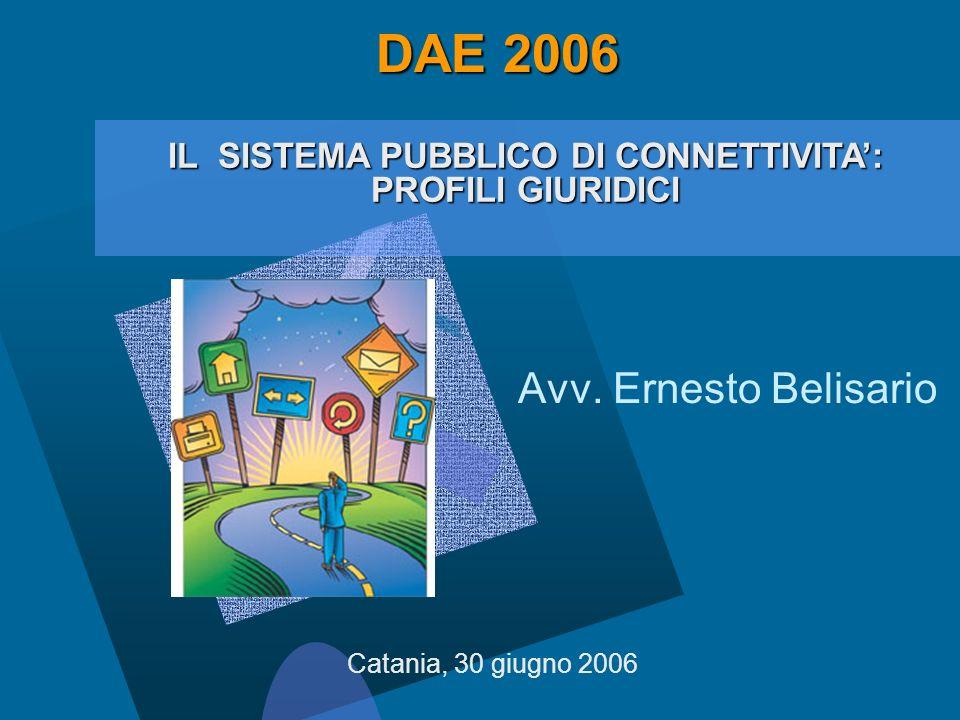 Avv. Ernesto Belisario Catania, 30 giugno 2006 IL SISTEMA PUBBLICO DI CONNETTIVITA: PROFILI GIURIDICI DAE 2006