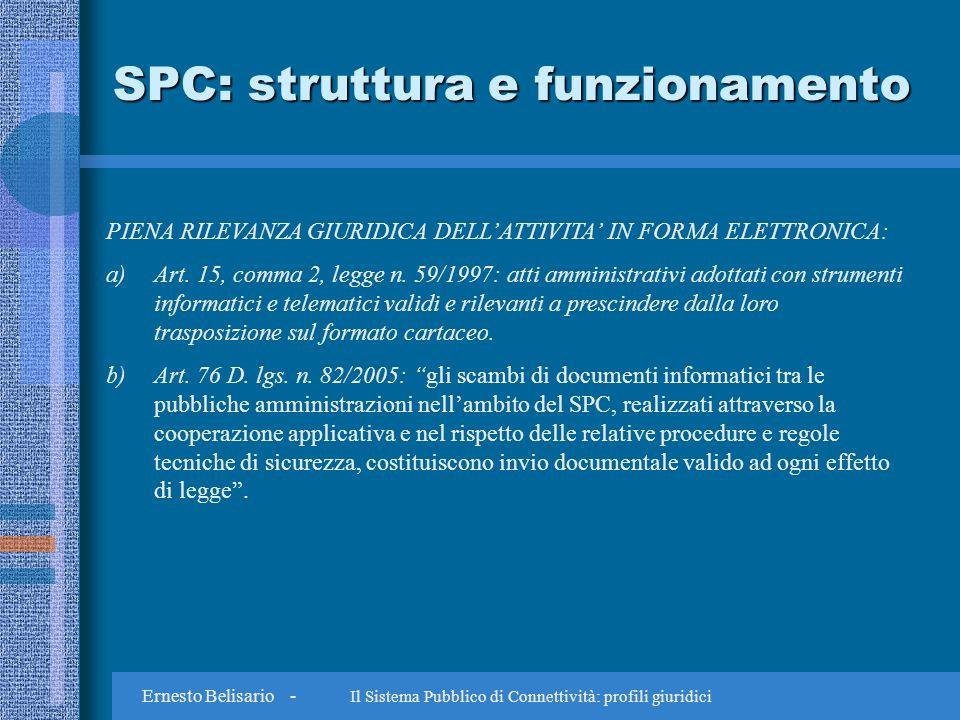 Ernesto Belisario - Il Sistema Pubblico di Connettività: profili giuridici SPC: struttura e funzionamento PIENA RILEVANZA GIURIDICA DELLATTIVITA IN FORMA ELETTRONICA: a)Art.