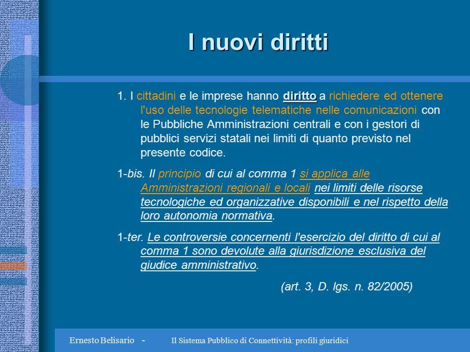 Ernesto Belisario - Il Sistema Pubblico di Connettività: profili giuridici I nuovi diritti diritto 1.