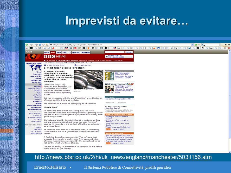 Ernesto Belisario - Il Sistema Pubblico di Connettività: profili giuridici Imprevisti da evitare… http://news.bbc.co.uk/2/hi/uk_news/england/manchester/5031156.stm