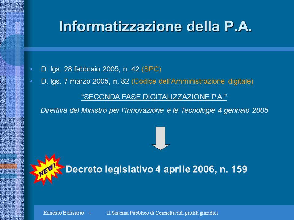 Ernesto Belisario - Il Sistema Pubblico di Connettività: profili giuridici Disponibilità dei dati Piena attuazione normativa protocollo informatico e gestione automatizzata dei procedimenti (Dpr n.
