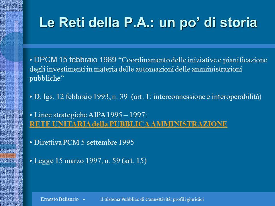 Ernesto Belisario - Il Sistema Pubblico di Connettività: profili giuridici Le Reti della P.A.: un po di storia DPCM 15 febbraio 1989 Coordinamento delle iniziative e pianificazione degli investimenti in materia delle automazioni delle amministrazioni pubbliche D.