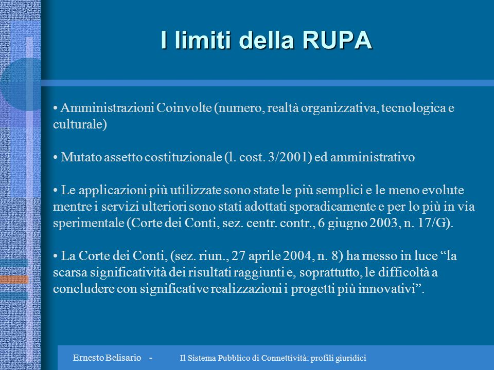 Ernesto Belisario - Il Sistema Pubblico di Connettività: profili giuridici SPC: questioni aperte Sicurezza dei dati e dei sistemi (art.