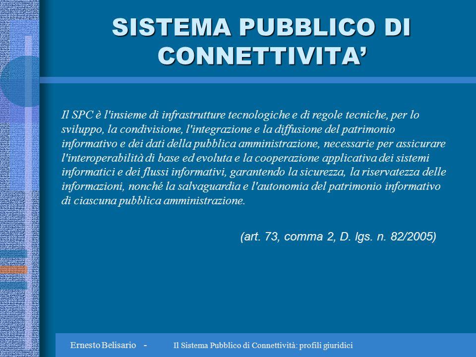 Ernesto Belisario - Il Sistema Pubblico di Connettività: profili giuridici GRAZIE ernesto@studiobelisario.it