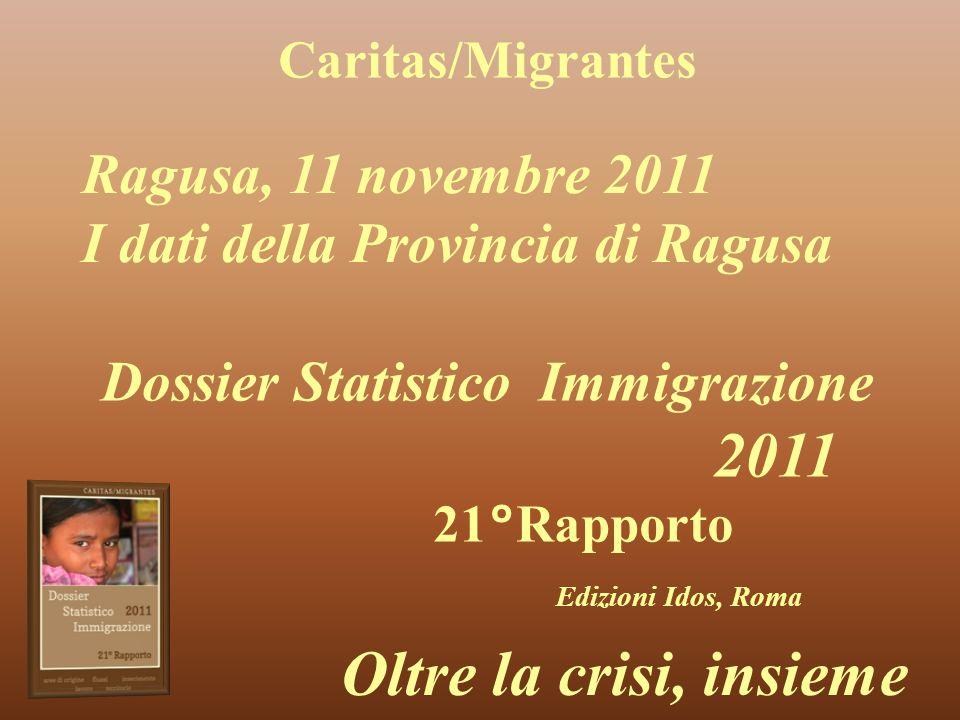 Caritas/Migrantes Dossier Statistico Immigrazione 2011 21°Rapporto Edizioni Idos, Roma Oltre la crisi, insieme Ragusa, 11 novembre 2011 I dati della Provincia di Ragusa
