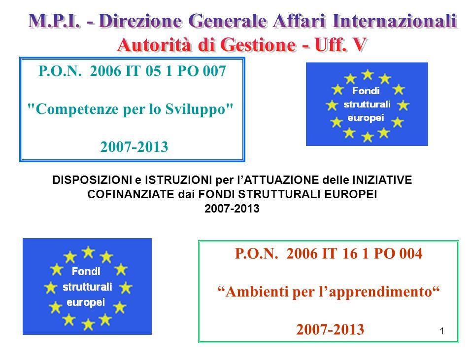 1 P.O.N. 2006 IT 05 1 PO 007 Competenze per lo Sviluppo 2007-2013 P.O.N.
