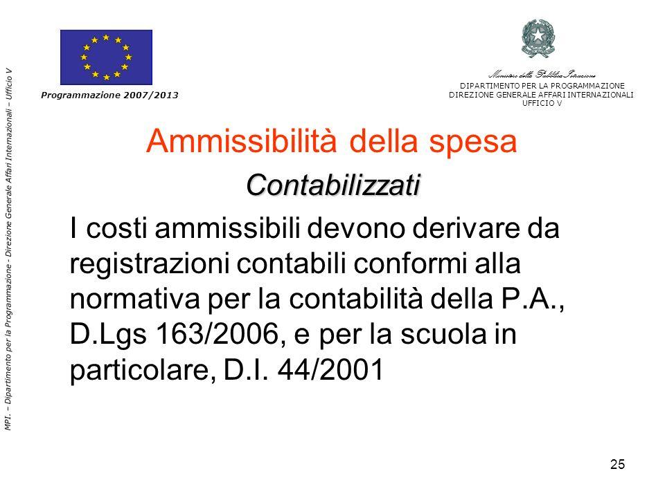 25 Ammissibilità della spesaContabilizzati I costi ammissibili devono derivare da registrazioni contabili conformi alla normativa per la contabilità della P.A., D.Lgs 163/2006, e per la scuola in particolare, D.I.