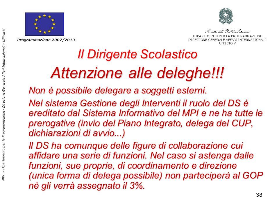 38 Il Dirigente Scolastico Attenzione alle deleghe!!.