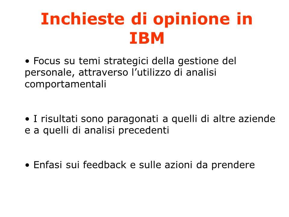 Inchieste di opinione in IBM Focus su temi strategici della gestione del personale, attraverso lutilizzo di analisi comportamentali I risultati sono paragonati a quelli di altre aziende e a quelli di analisi precedenti Enfasi sui feedback e sulle azioni da prendere