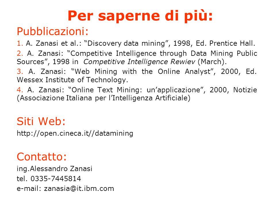 Per saperne di più: Pubblicazioni: 1. A. Zanasi et al.: Discovery data mining, 1998, Ed.