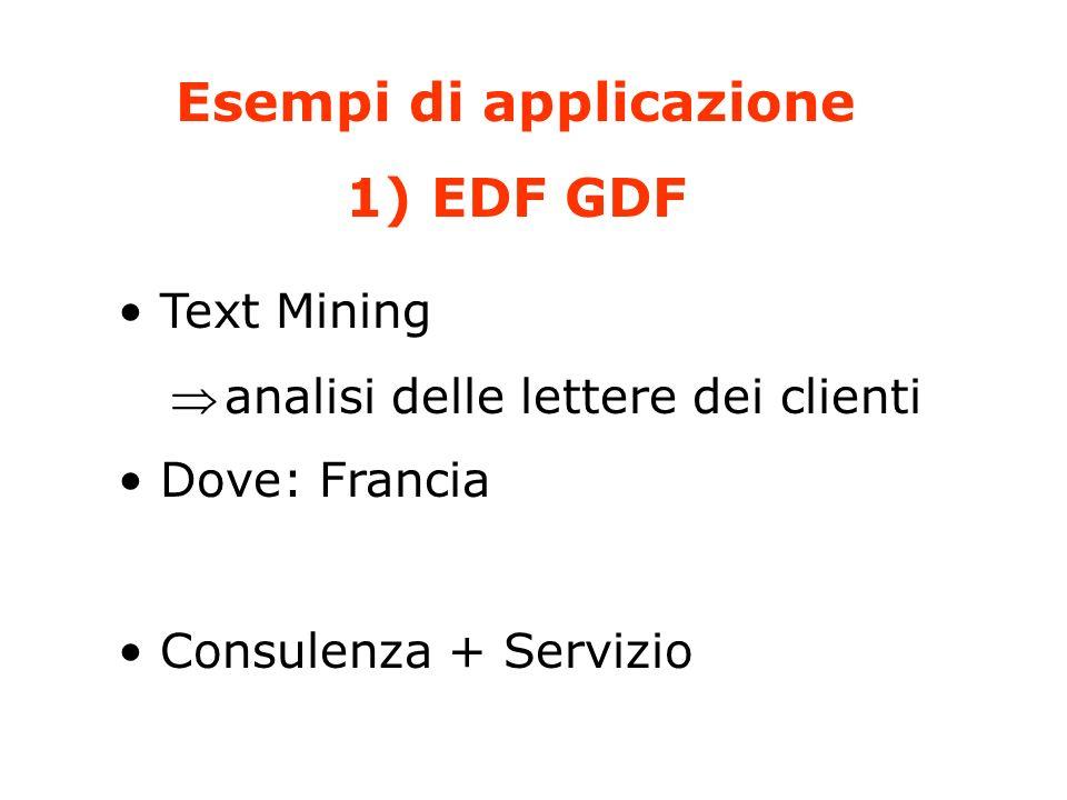 Esempi di applicazione 1) EDF GDF Text Mining analisi delle lettere dei clienti Dove: Francia Consulenza + Servizio