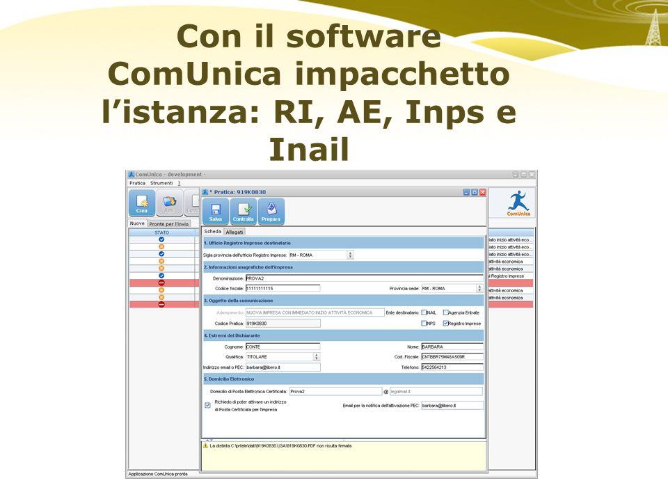 Con il software ComUnica impacchetto listanza: RI, AE, Inps e Inail