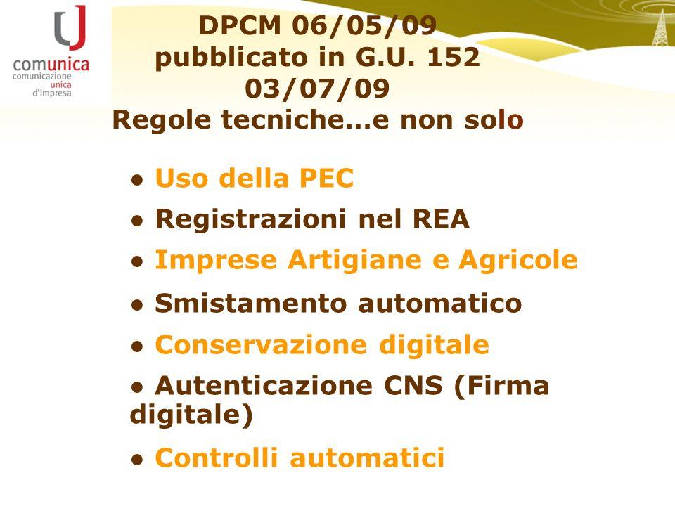 DPCM 06/05/09 pubblicato in G.U.