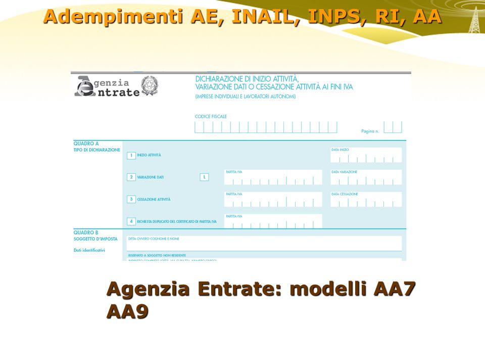 Adempimenti AE, INAIL, INPS, RI, AA INAIL: inizio attività, quadri A/B/C/D …