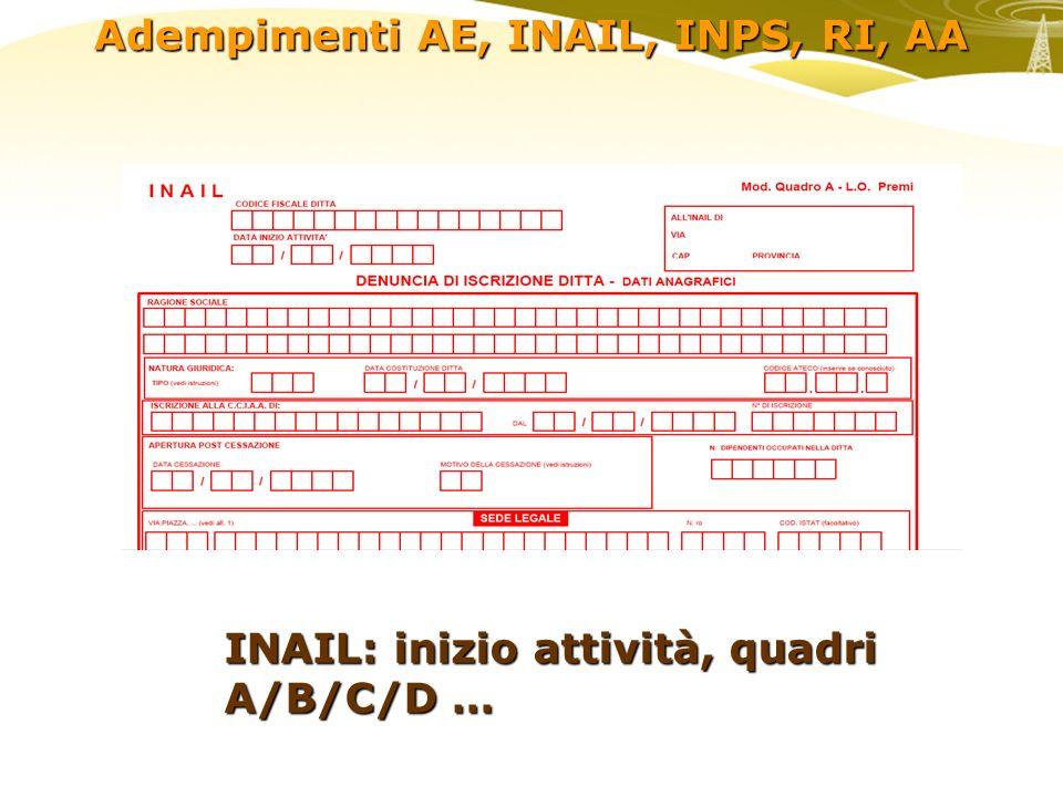 Adempimenti AE, INAIL, INPS, RI, AA INPS: Agricoltura, Dipendenti, Artigiani e Commercianti,