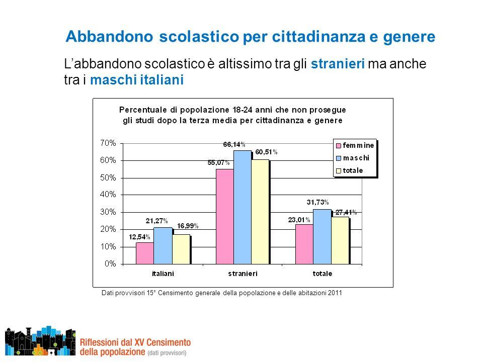 Abbandono scolastico per cittadinanza e genere Dati provvisori 15° Censimento generale della popolazione e delle abitazioni 2011 Labbandono scolastico è altissimo tra gli stranieri ma anche tra i maschi italiani