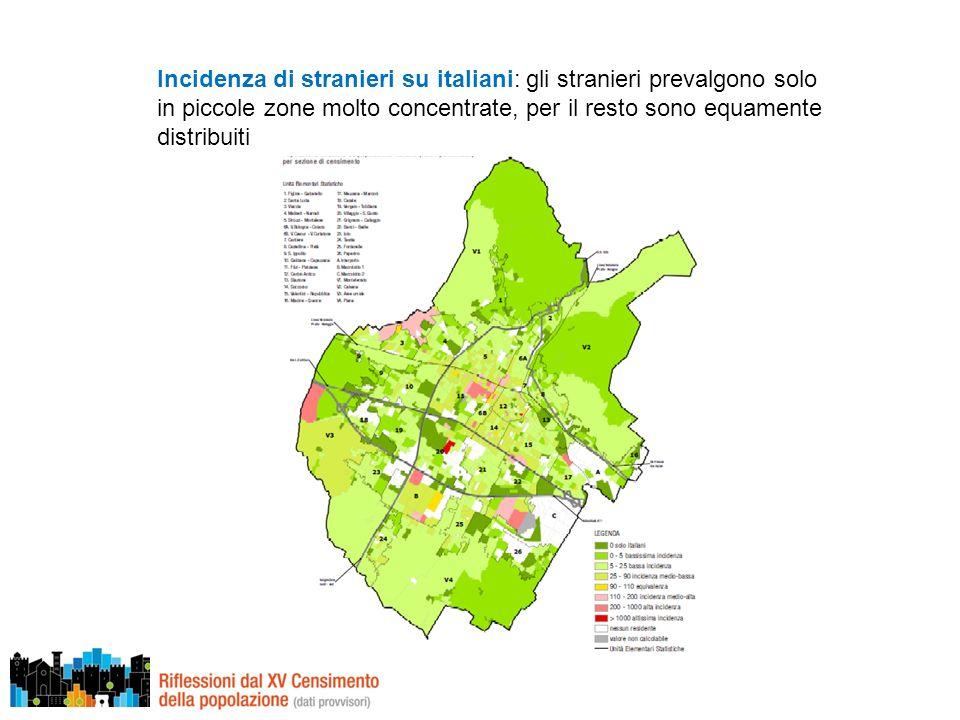 Incidenza di stranieri su italiani: gli stranieri prevalgono solo in piccole zone molto concentrate, per il resto sono equamente distribuiti