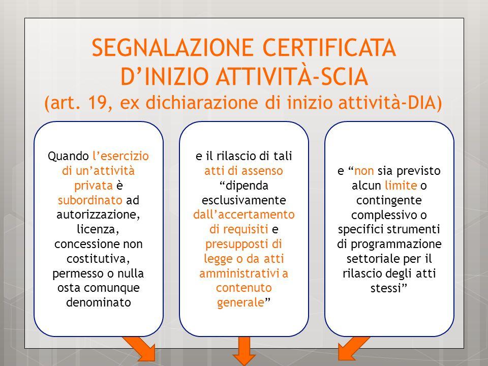 Quando lesercizio di unattività privata è subordinato ad autorizzazione, licenza, concessione non costitutiva, permesso o nulla osta comunque denomina