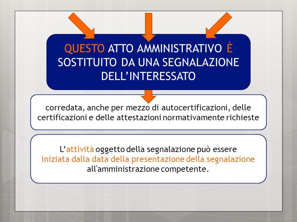 Lattività oggetto della segnalazione può essere iniziata dalla data della presentazione della segnalazione all'amministrazione competente. corredata,