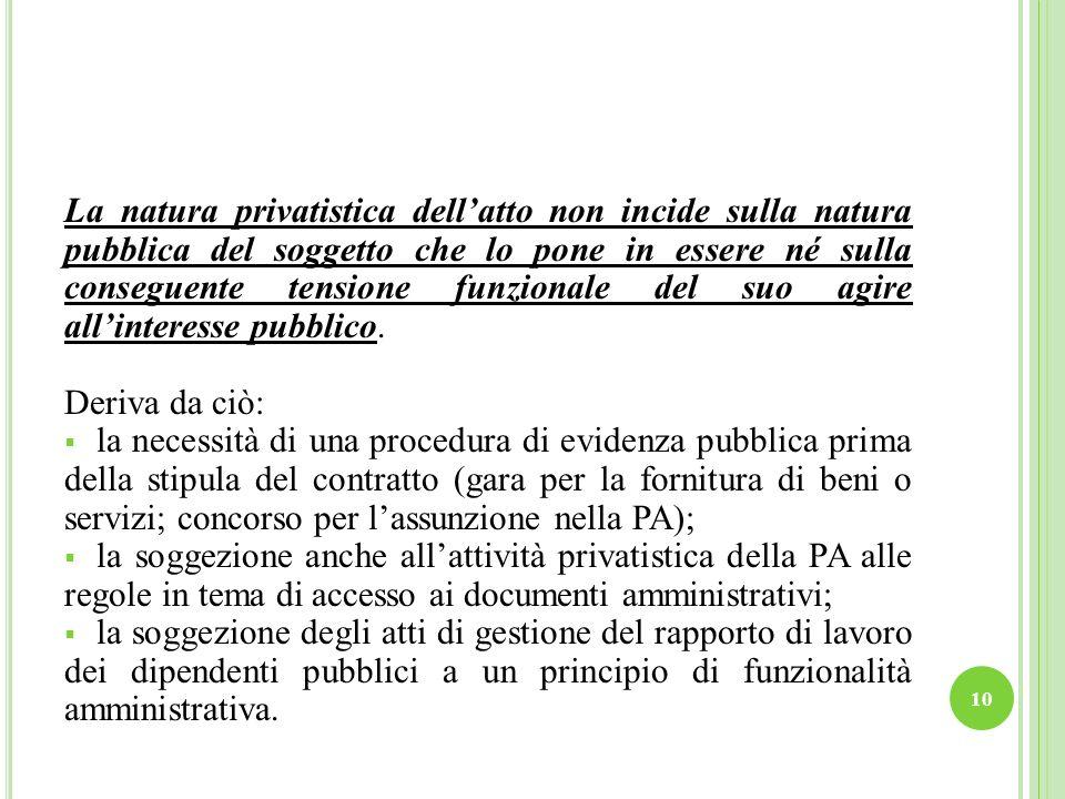 La natura privatistica dellatto non incide sulla natura pubblica del soggetto che lo pone in essere né sulla conseguente tensione funzionale del suo agire allinteresse pubblico.