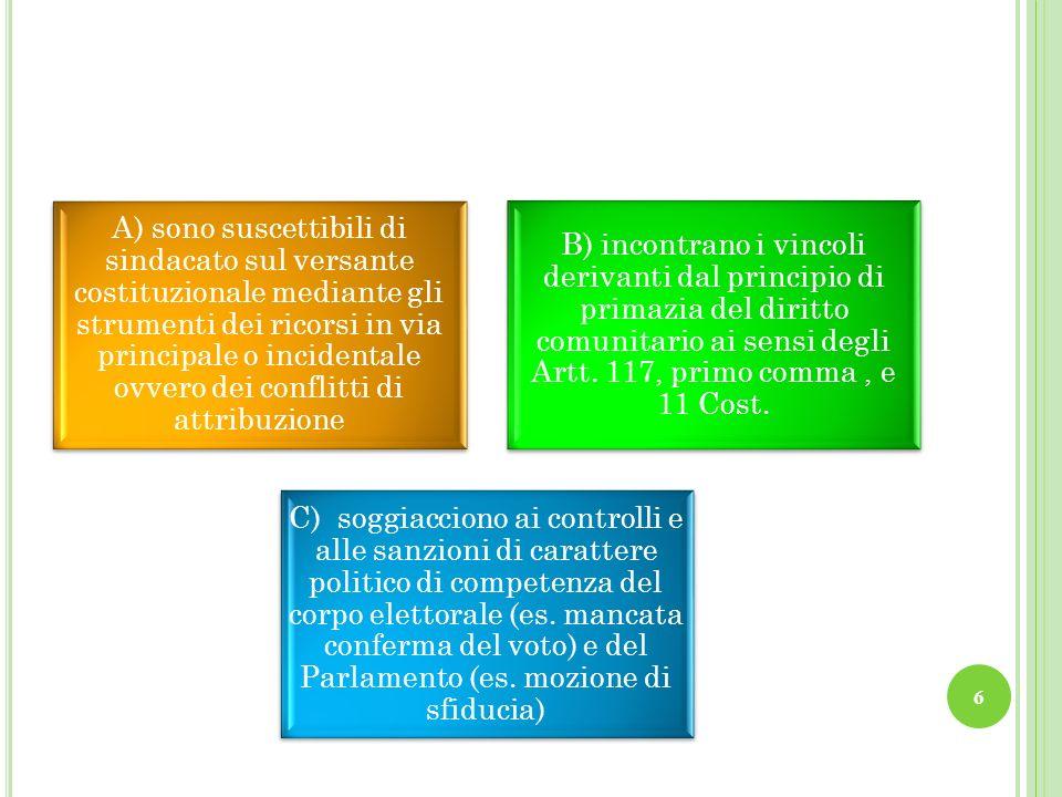 A) sono suscettibili di sindacato sul versante costituzionale mediante gli strumenti dei ricorsi in via principale o incidentale ovvero dei conflitti di attribuzione B) incontrano i vincoli derivanti dal principio di primazia del diritto comunitario ai sensi degli Artt.