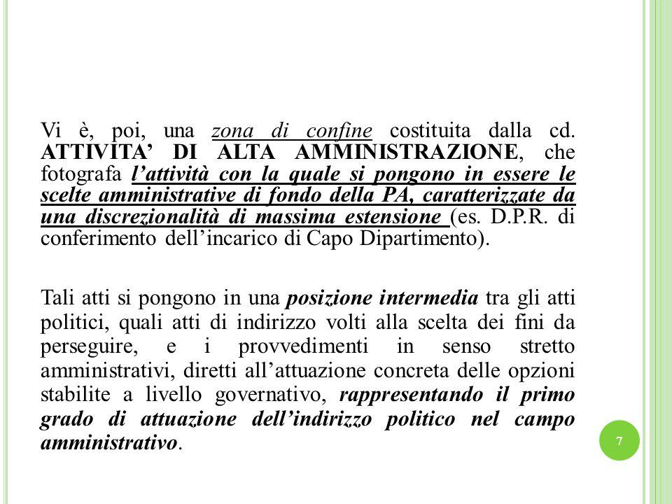 Si tratta di atti costituenti manifestazioni dimpulso alladozione di atti amministrativi funzionali allattuazione dei fini della legge.