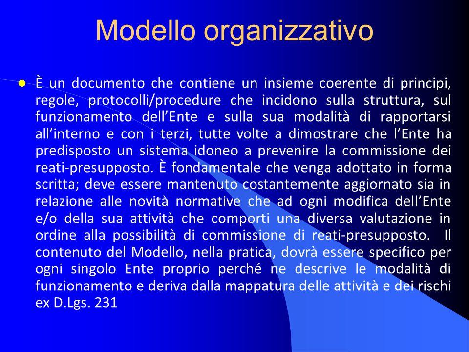 Modello organizzativo l È un documento che contiene un insieme coerente di principi, regole, protocolli/procedure che incidono sulla struttura, sul fu
