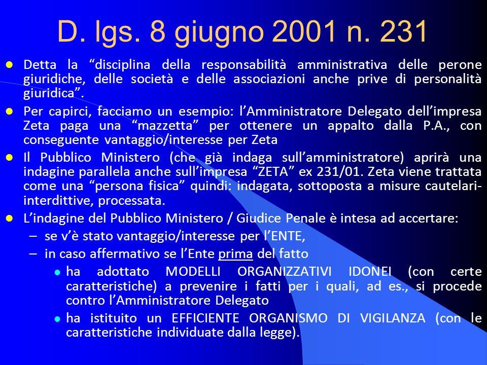D. lgs. 8 giugno 2001 n. 231 l Detta la disciplina della responsabilità amministrativa delle perone giuridiche, delle società e delle associazioni anc