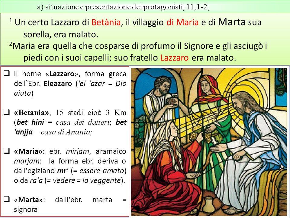 a) situazione e presentazione dei protagonisti, 11,1-2; 1 Un certo Lazzaro di Betània, il villaggio di Maria e di Marta sua sorella, era malato. 2 Mar