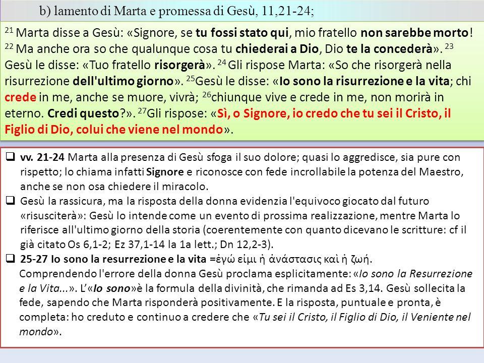 b) lamento di Marta e promessa di Ges ù, 11,21-24; 21 Marta disse a Gesù: «Signore, se tu fossi stato qui, mio fratello non sarebbe morto! 22 Ma anche