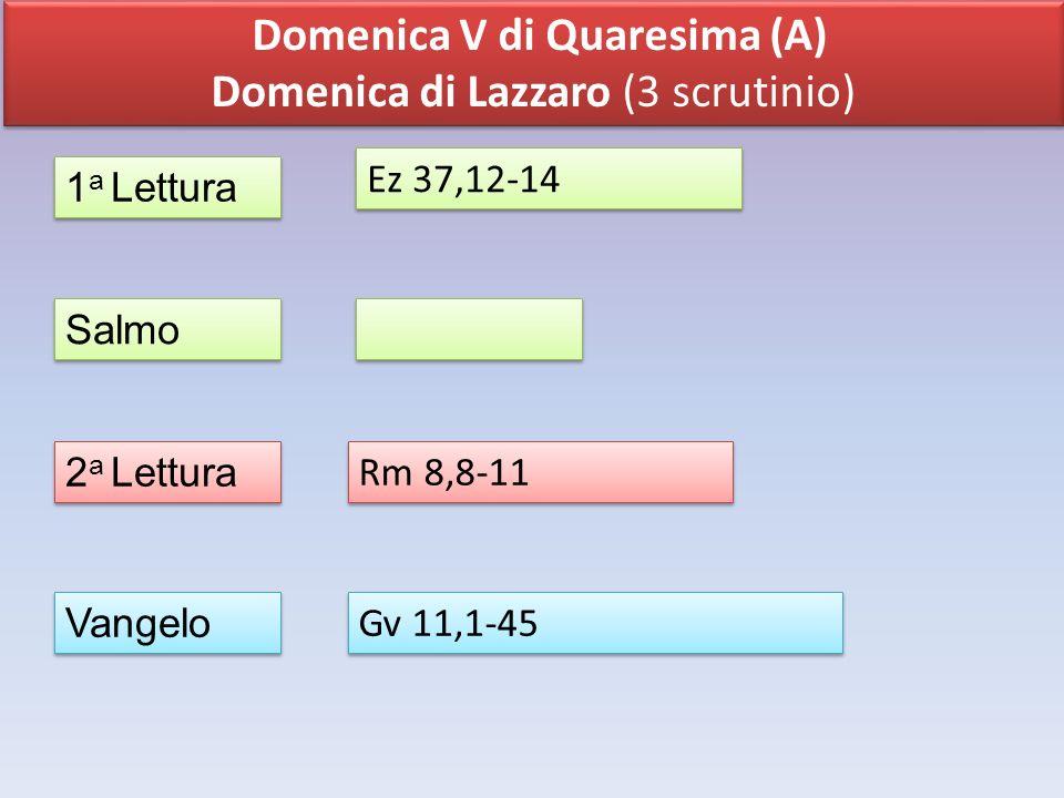 Domenica V di Quaresima (A) Domenica di Lazzaro (3 scrutinio) Domenica V di Quaresima (A) Domenica di Lazzaro (3 scrutinio) 1 a Lettura Salmo 2 a Lett