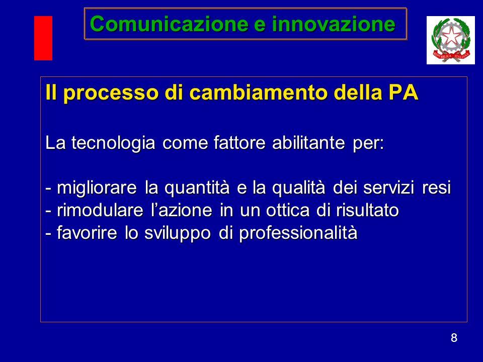 8 Il processo di cambiamento della PA La tecnologia come fattore abilitante per: - migliorare la quantità e la qualità dei servizi resi - rimodulare lazione in un ottica di risultato - favorire lo sviluppo di professionalità Comunicazione e innovazione