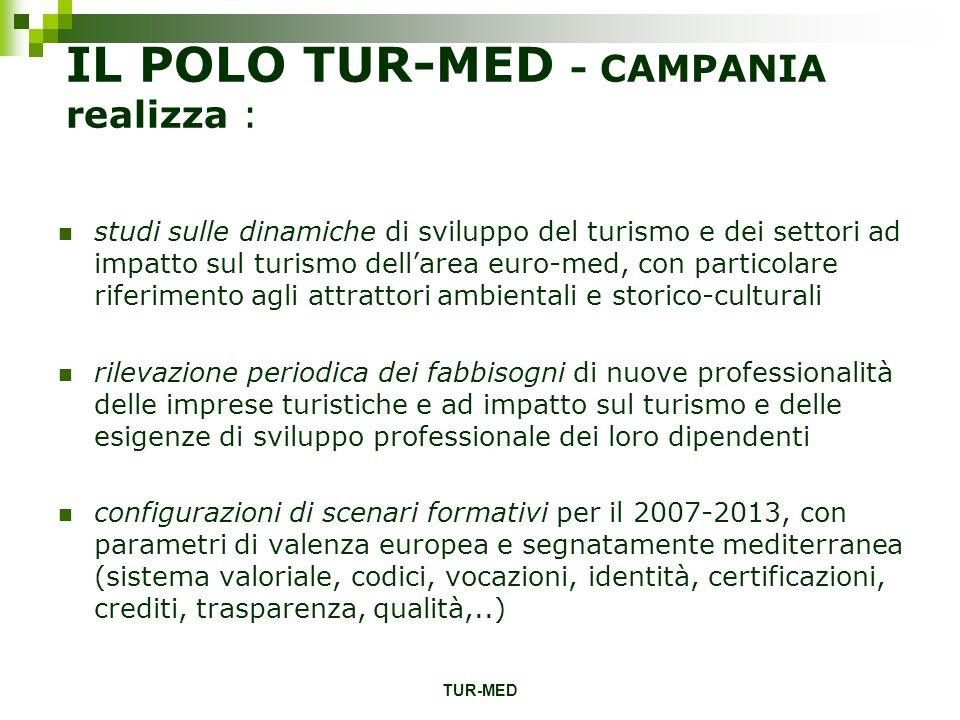 TUR-MED IL POLO TUR-MED - CAMPANIA realizza : studi sulle dinamiche di sviluppo del turismo e dei settori ad impatto sul turismo dellarea euro-med, co