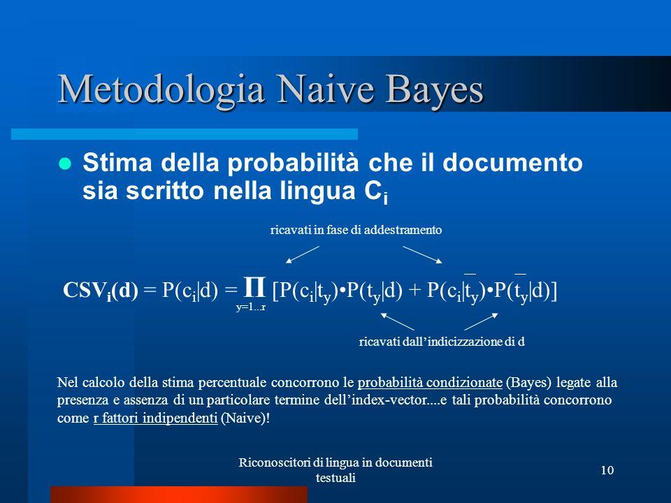 Riconoscitori di lingua in documenti testuali 10 Metodologia Naive Bayes Stima della probabilità che il documento sia scritto nella lingua C i CSV i (