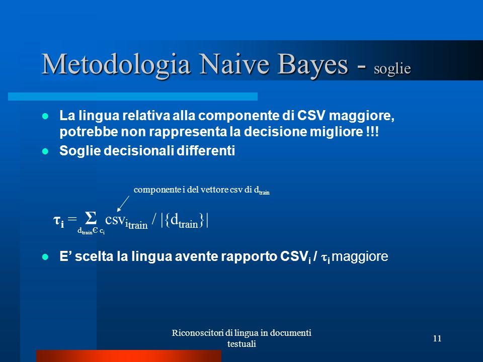 Riconoscitori di lingua in documenti testuali 11 Metodologia Naive Bayes - soglie La lingua relativa alla componente di CSV maggiore, potrebbe non rap