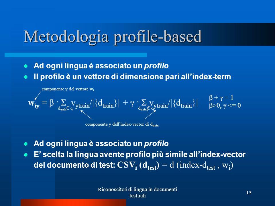 Riconoscitori di lingua in documenti testuali 13 Metodologia profile-based Ad ogni lingua è associato un profilo Il profilo è un vettore di dimensione