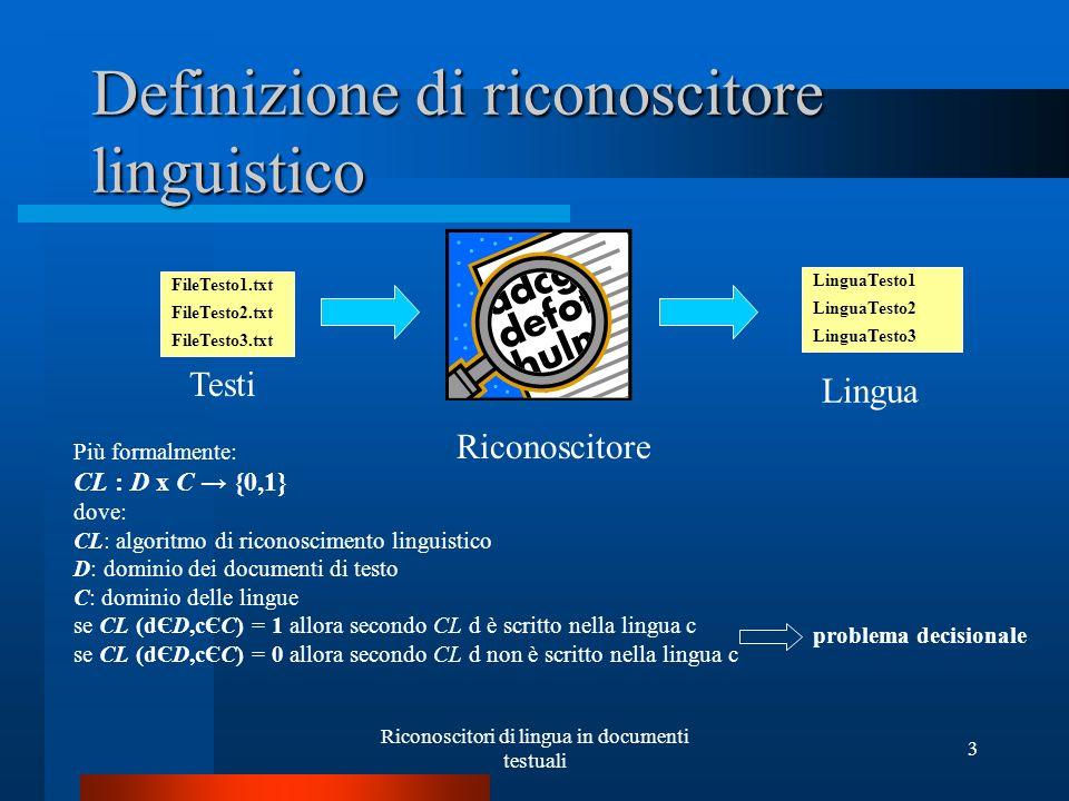 Riconoscitori di lingua in documenti testuali 3 Definizione di riconoscitore linguistico Testi Riconoscitore Lingua FileTesto1.txt FileTesto2.txt File