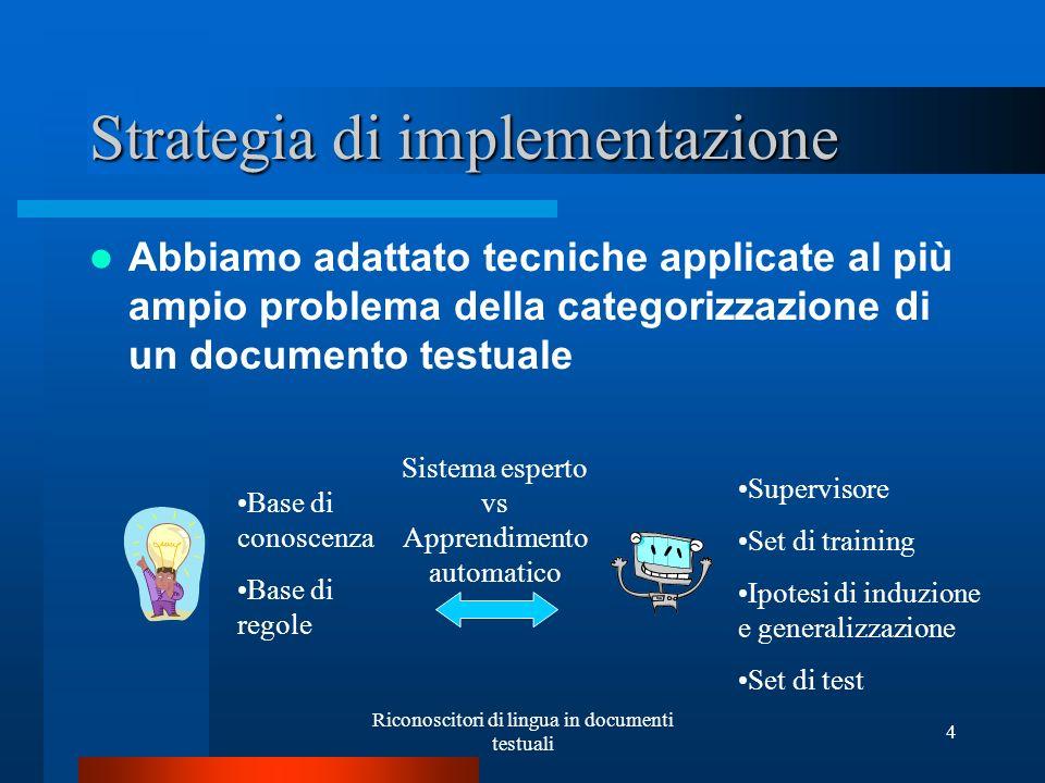 Riconoscitori di lingua in documenti testuali 4 Strategia di implementazione Abbiamo adattato tecniche applicate al più ampio problema della categoriz